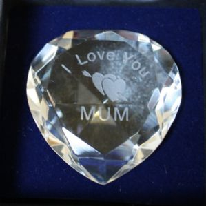 I Love You Mum - Clear,Hearts ,Star Crystal Heart